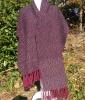 手織り一点物・アルパカ十割・紫色とグレー濃紺ストール[でんでん虫の詩とエッセーとイラスト]